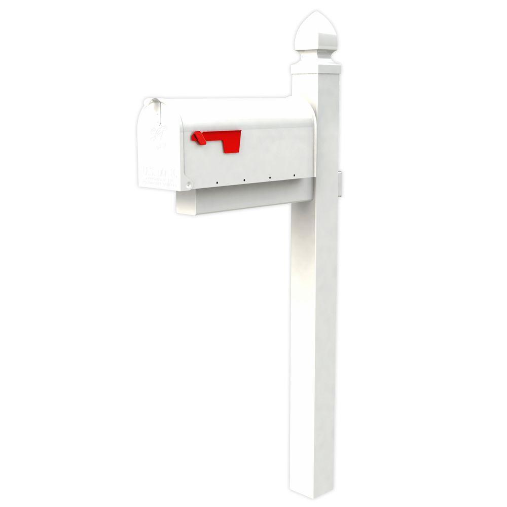 Gibraltar Mailboxes Everton Elite White Steel Mailbox And Post