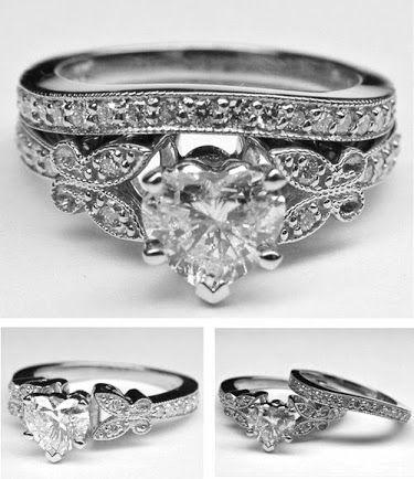 Heart Shape Diamond Butterfly Vintage Engagement Ring Matching W Heart Shaped Engagement Rings Engagement Ring Matching Wedding Band Vintage Engagement Rings