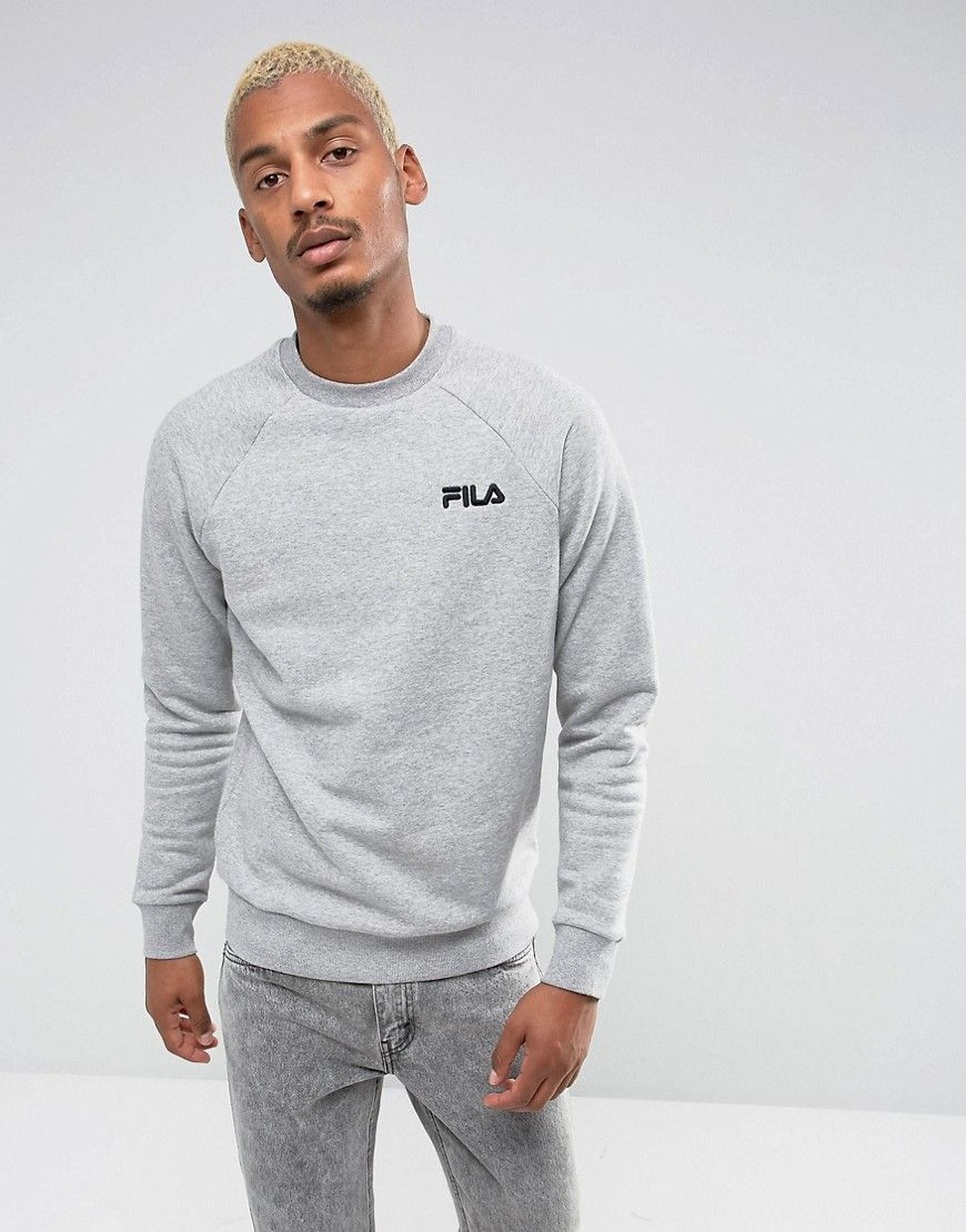 98e5efe3 Fila Black Sweatshirt Small Retro Logo In Gray - Gray | Products ...