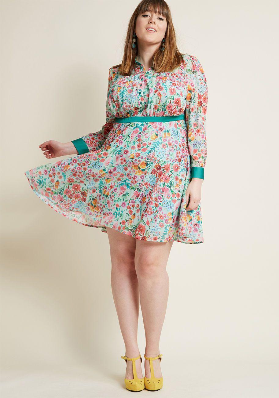 Long Sleeve Chiffon Shirt Dress In Mint Modcloth Chiffon Shirt