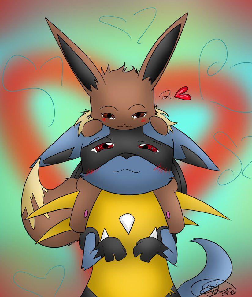 Eevee X Lucario Request Eevee Pokemon Drawings Art