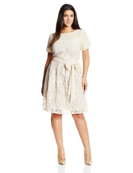 aad017ed0c Amazon.com: Julian Taylor Women's Plus-Size Cap Sleeve Fit and Flare Lace  Dress: Clothing