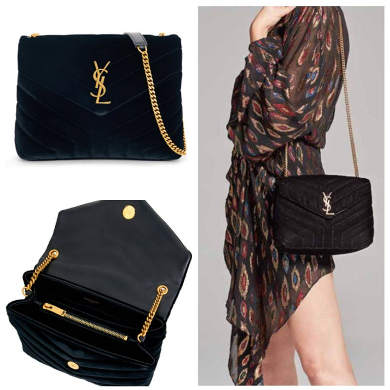 5abcd5ffea  adorable  fallfashion Saint Laurent Velvet Small Loulou Monogram Chain  Crossbody