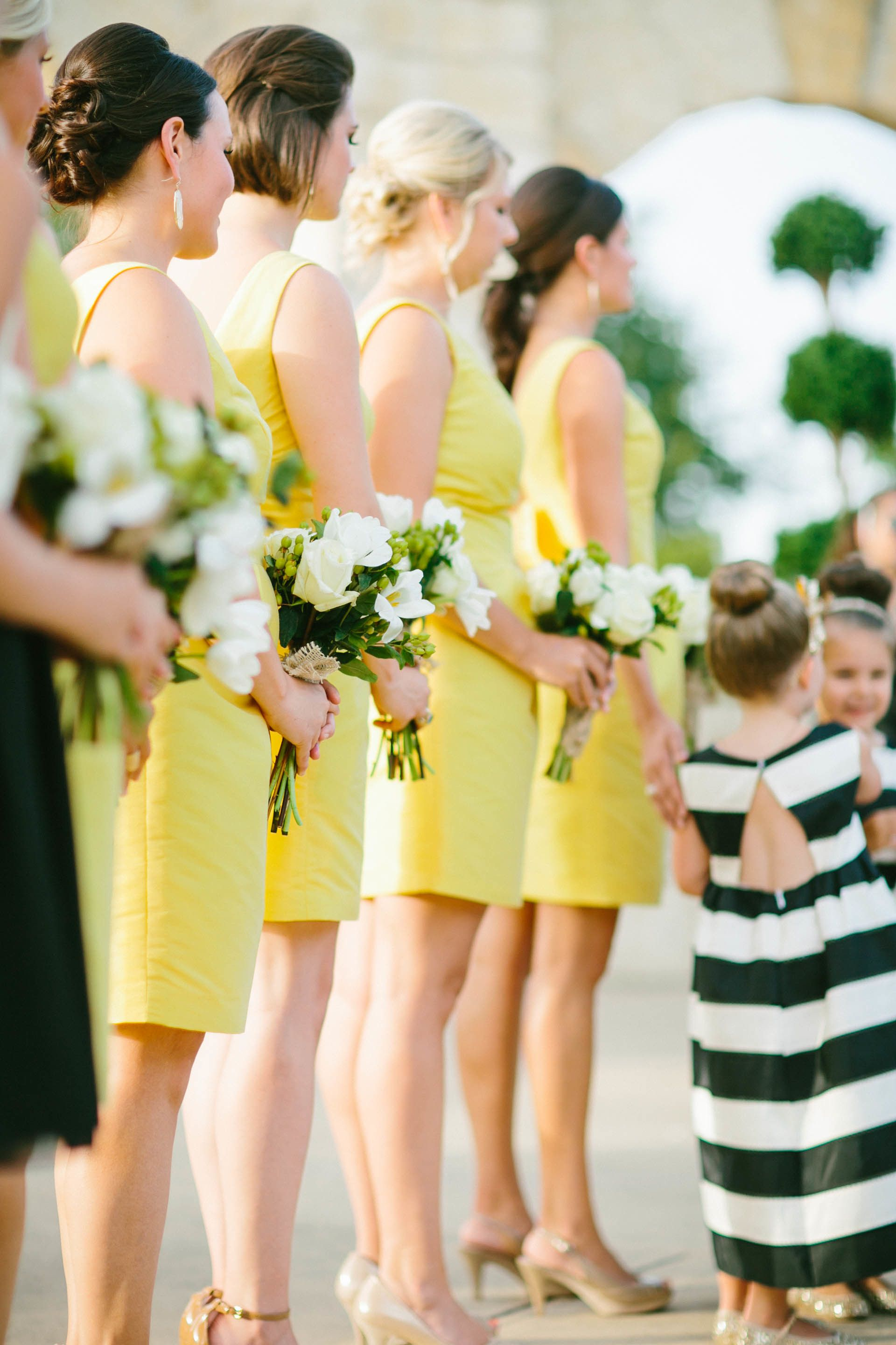 Modern chic wedding in texasus hill country yellow bridesmaid