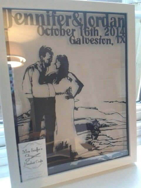 Bespoke wedding portrait and first anniversary gift by mrs Scuffer's Handcut via her etsy shop or handcut.yolasite.com