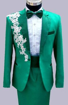 (jacket+pants) man suits red white black pink red green wedding groom  costume male formal dress slim suits clothes flower party a7590ccd98e0