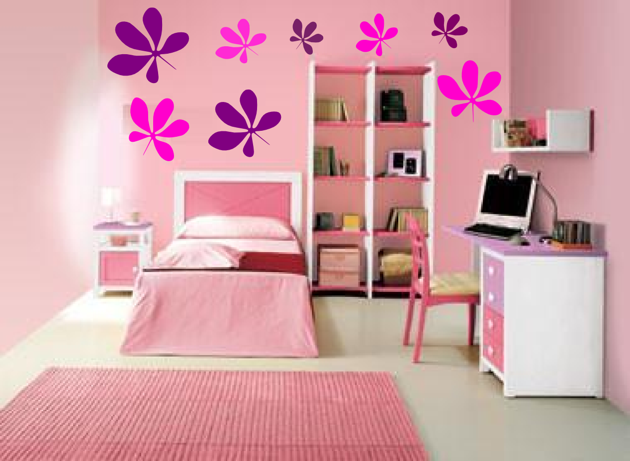 Vinilos decorativos florales para paredes de habitaciones for Vinilos decorativos juveniles nina