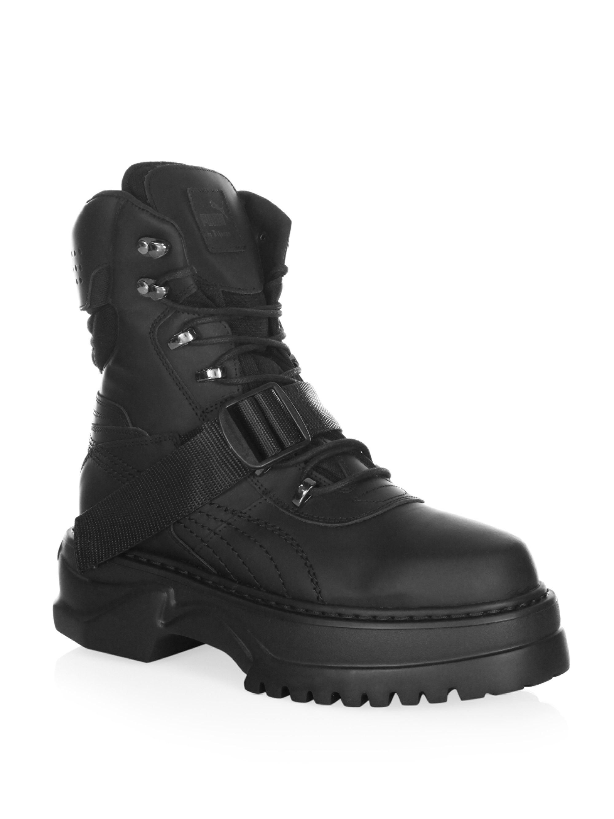 Puma Lace-Up Leather Winter Boots - Black 7.5 517a073c8