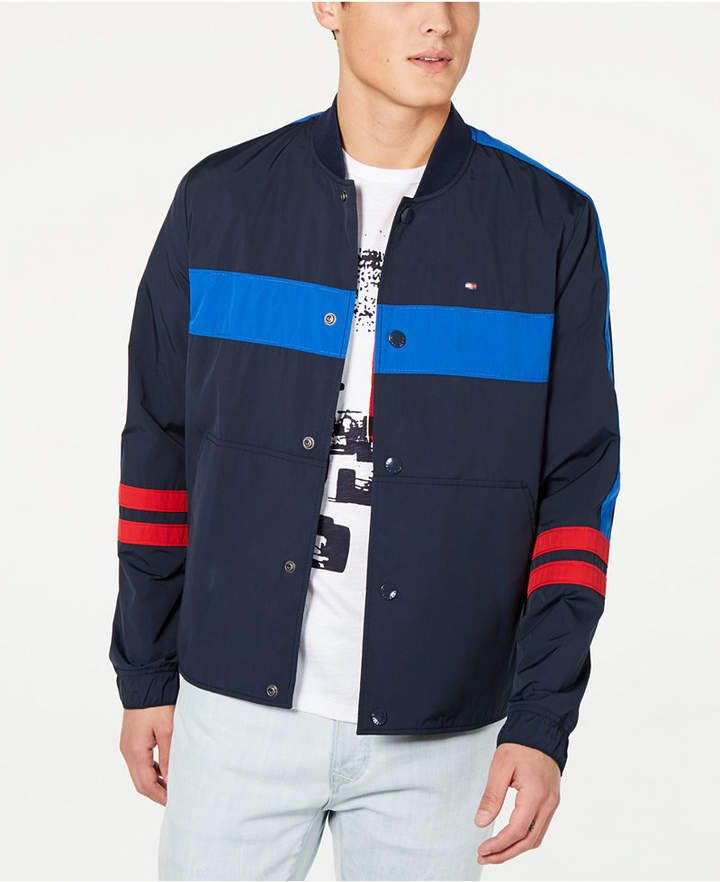 319c92fc5 Tommy Hilfiger Men s Coach Colorblocked Track Jacket - Blue M