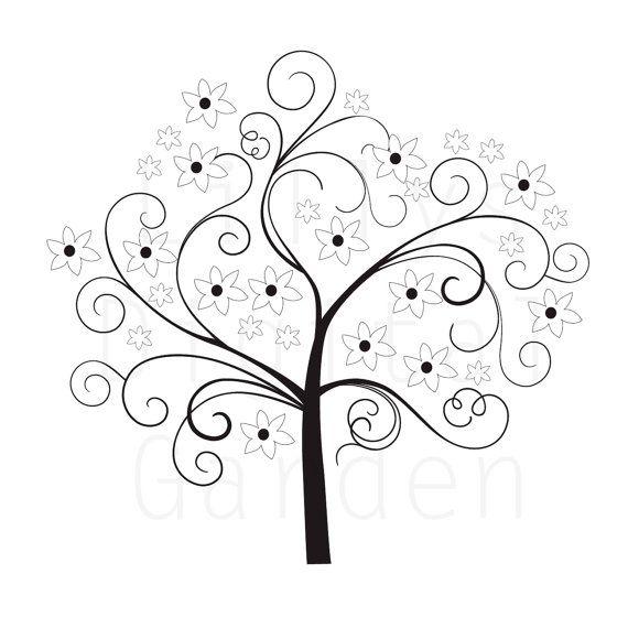 arbre num rique timbre arbre chic 4 noir blanc clipart image num rique dessins pinterest. Black Bedroom Furniture Sets. Home Design Ideas