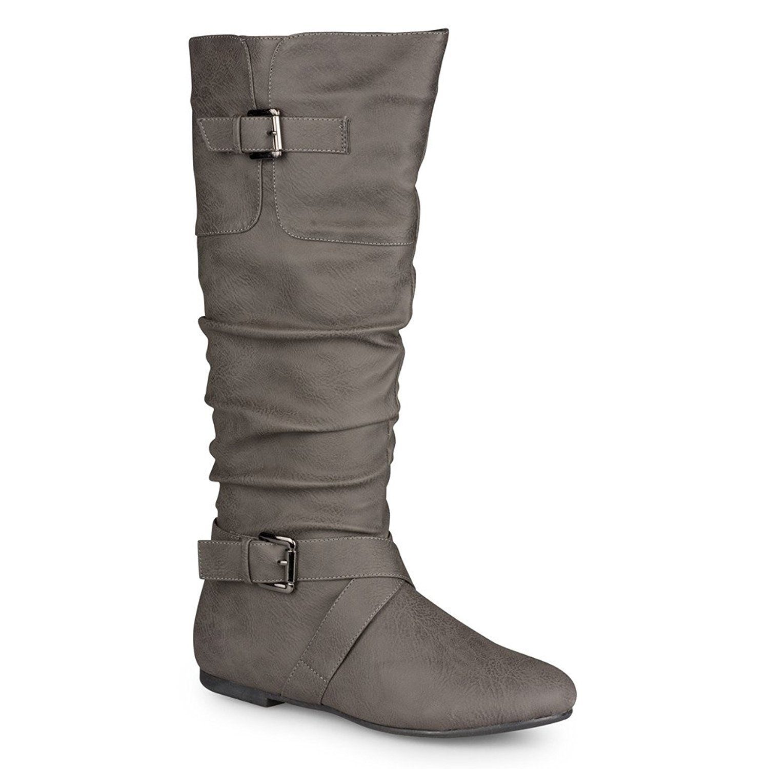 faux leather, Womens mid calf boots