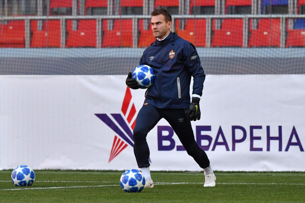 fbc350cb94c CSKA Moscow s Russian goalkeeper Igor Akinfeev attends a training session  at Moscow s VEB Arena on October 1