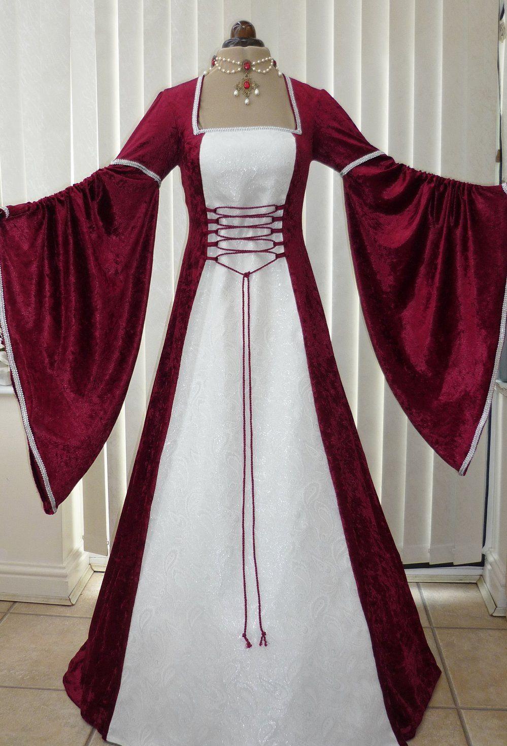 Renaissance Medieval Burgundy & White Wedding Dress