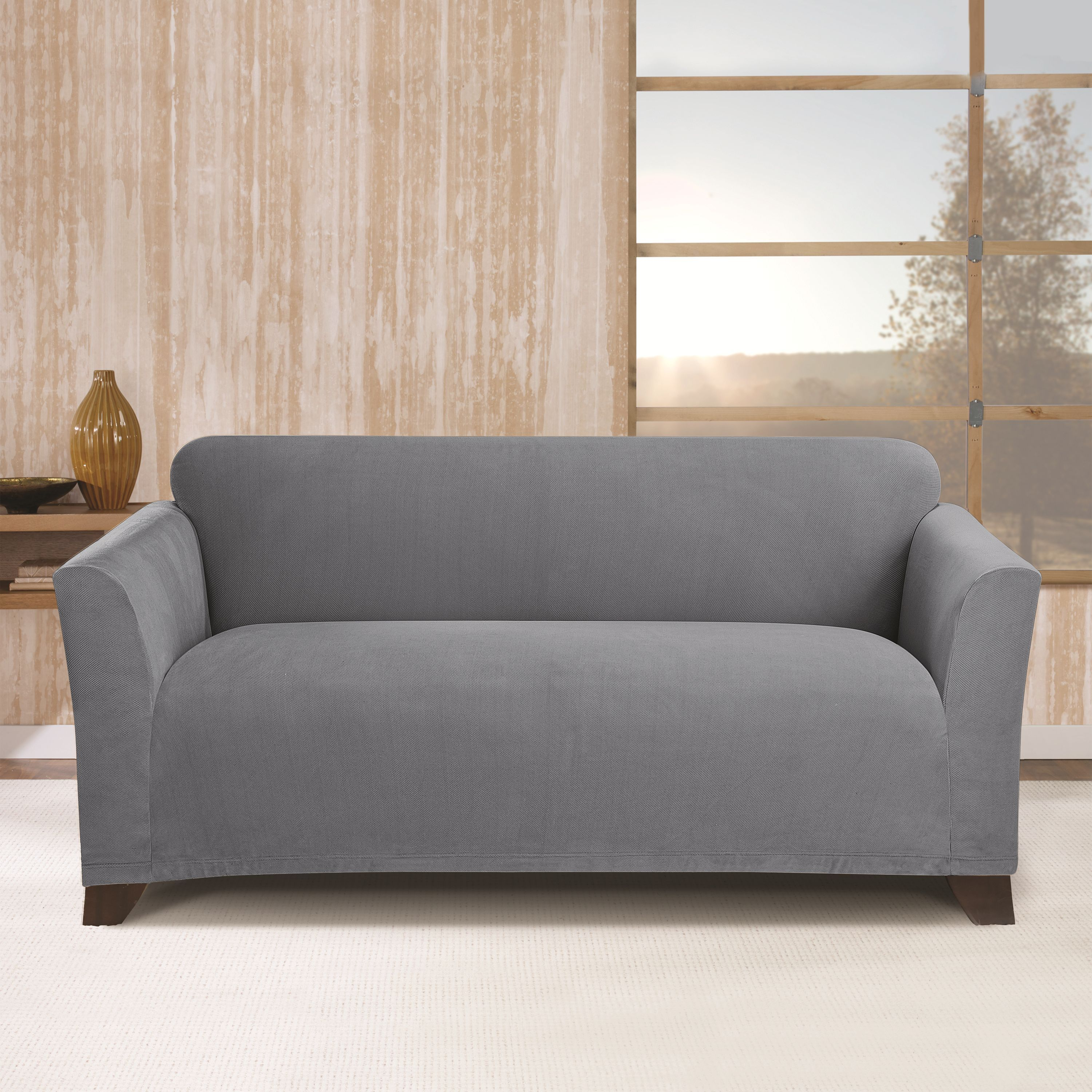 sure fit stretch morgan loveseat furniture cover storm blue solid housses causeuse