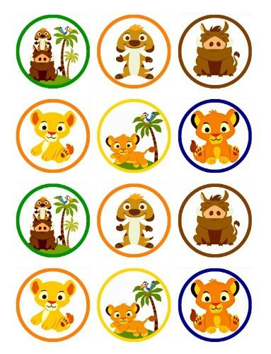 Baby lion king cupcake toppers and favor tags for babyshower  or birthday party