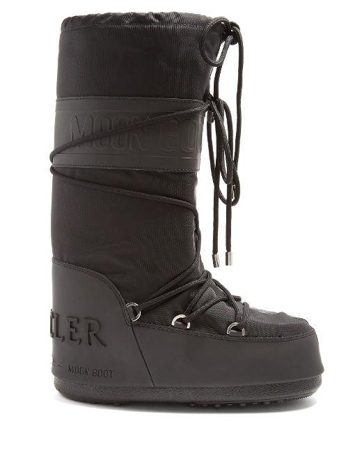 1a98ca955 MONCLER | X Moon Boot® leather-trimmed aprés-ski boots #Shoes #Boots # MONCLER