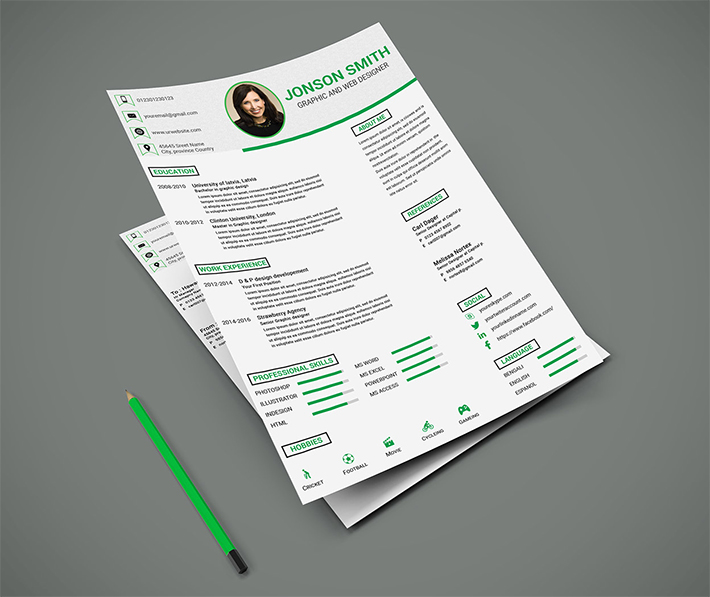 Free Clean Resume Psd Template: Free Download Clean Resume / CV PSD Template Design