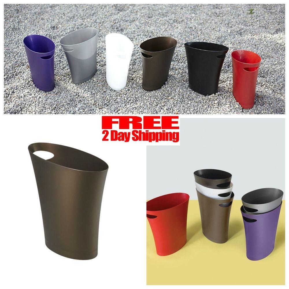 Umbra Skinny 2 Gallon Ultra Slim Wastebasket Trash Waste Can