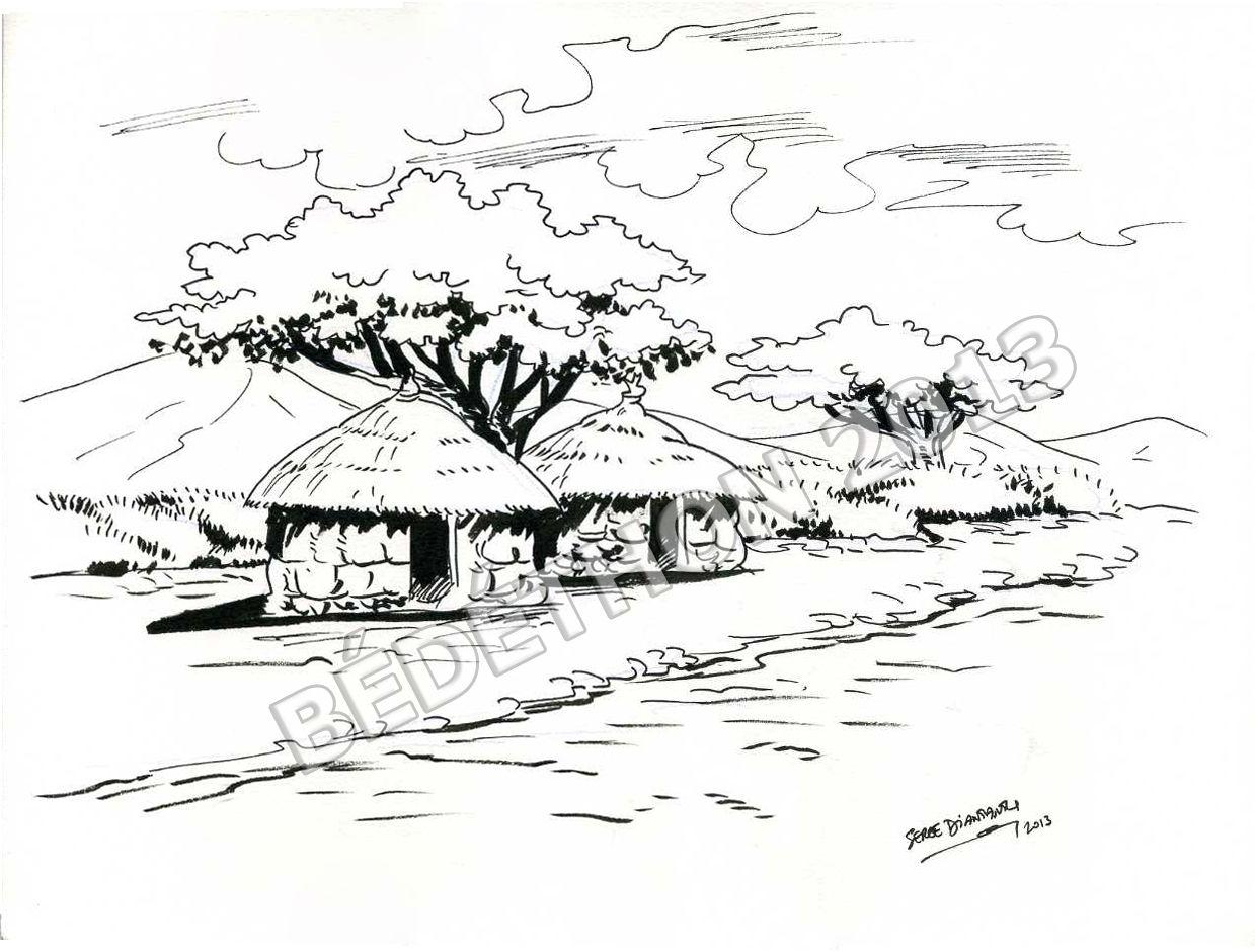 Planches aux ench res serge diantantu b d thon 2013 - Dessin paysage africain ...