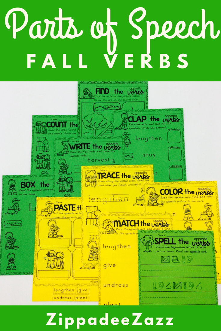 Worksheets for Parts of Speech Verbs for Fall | Interactive ...