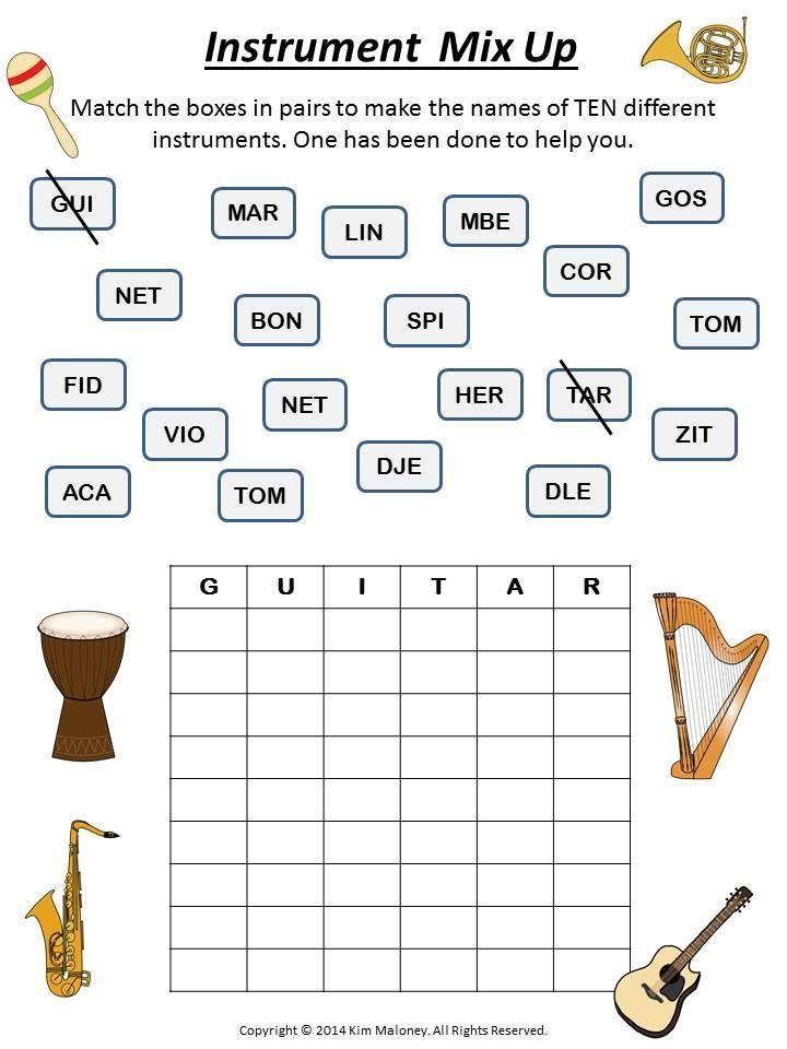 Music Games: Music Word Mix Up Puzzles   Musikalisch und Arbeitsblätter
