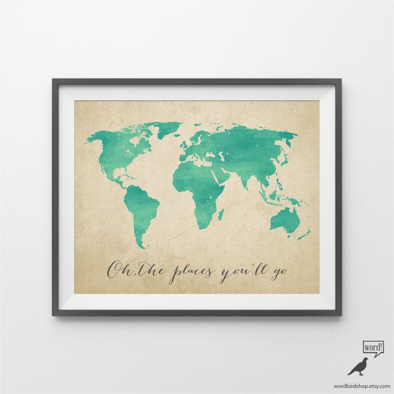 Watercolor map oh the places youll go by wordbirdshop on etsy large world map watercolor world map oh the places youll go nursery decor large wall art home decor map modern wall art gumiabroncs Image collections