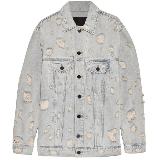 Alexander Wang Daze oversized distressed denim jacket ($575) ❤ liked on Polyvore featuring outerwear, jackets, alexander wang jacket, distressed denim jacket, alexander wang, bleach jacket and oversized jackets
