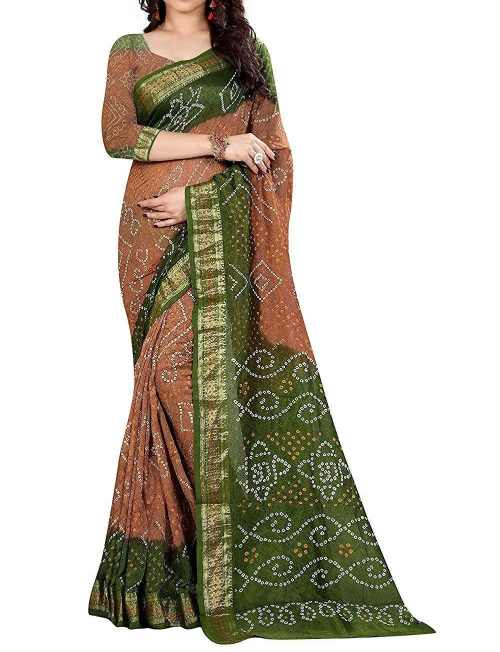 FREE SHIPPING/_Ethnic Green Silk Saree With Rich Zari Weaving Work With Unstitched Blouse Traditional Wedding Wear Sari Indian Women Saree