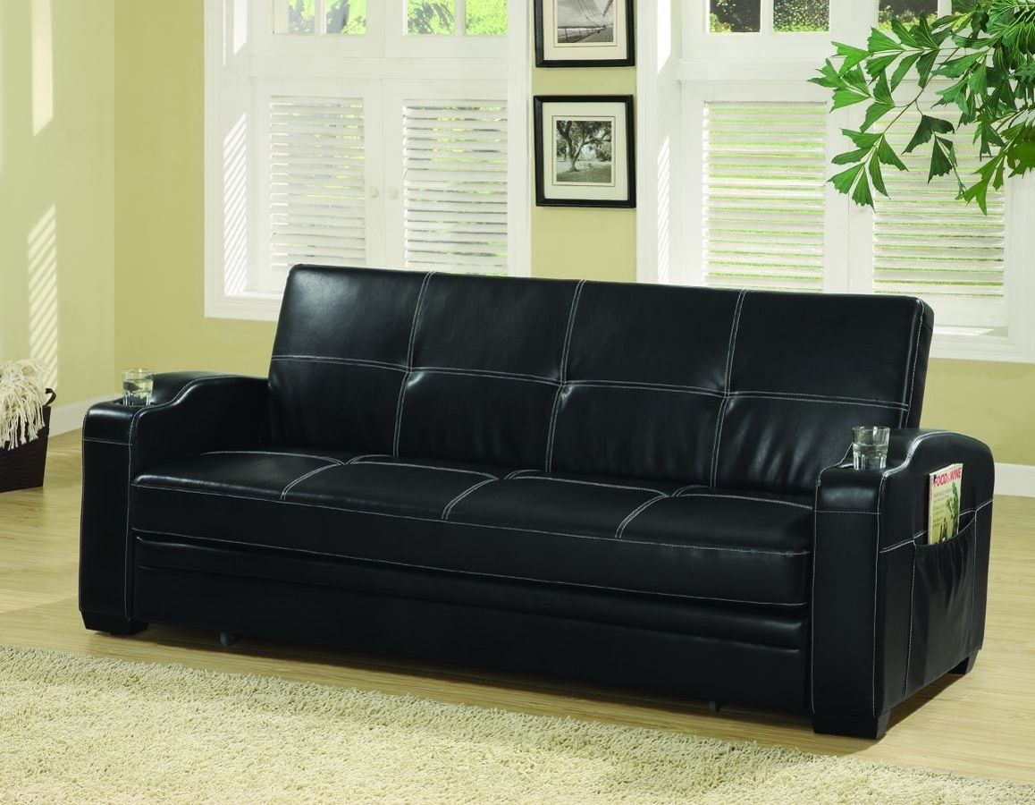 Coaster Furniture Black Storage And Cup Holders Sofa Bed