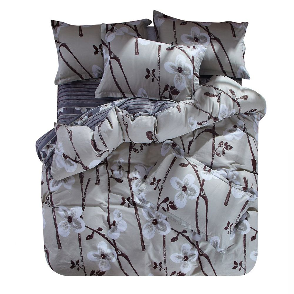 Cotton Fabric Home Textiles Bedding Set Of Four Including Duvet Cover Pillowcases and Flat Sheet In A Variety Of Sizes