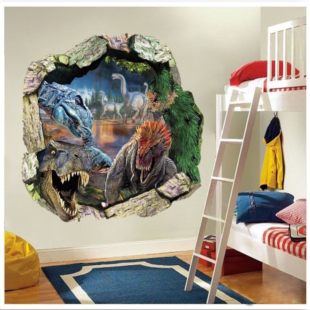 3D Dinosaurs Through The Wall Stickers Jurassic Park Home Decoration Kids  Room Wall Decal Movie