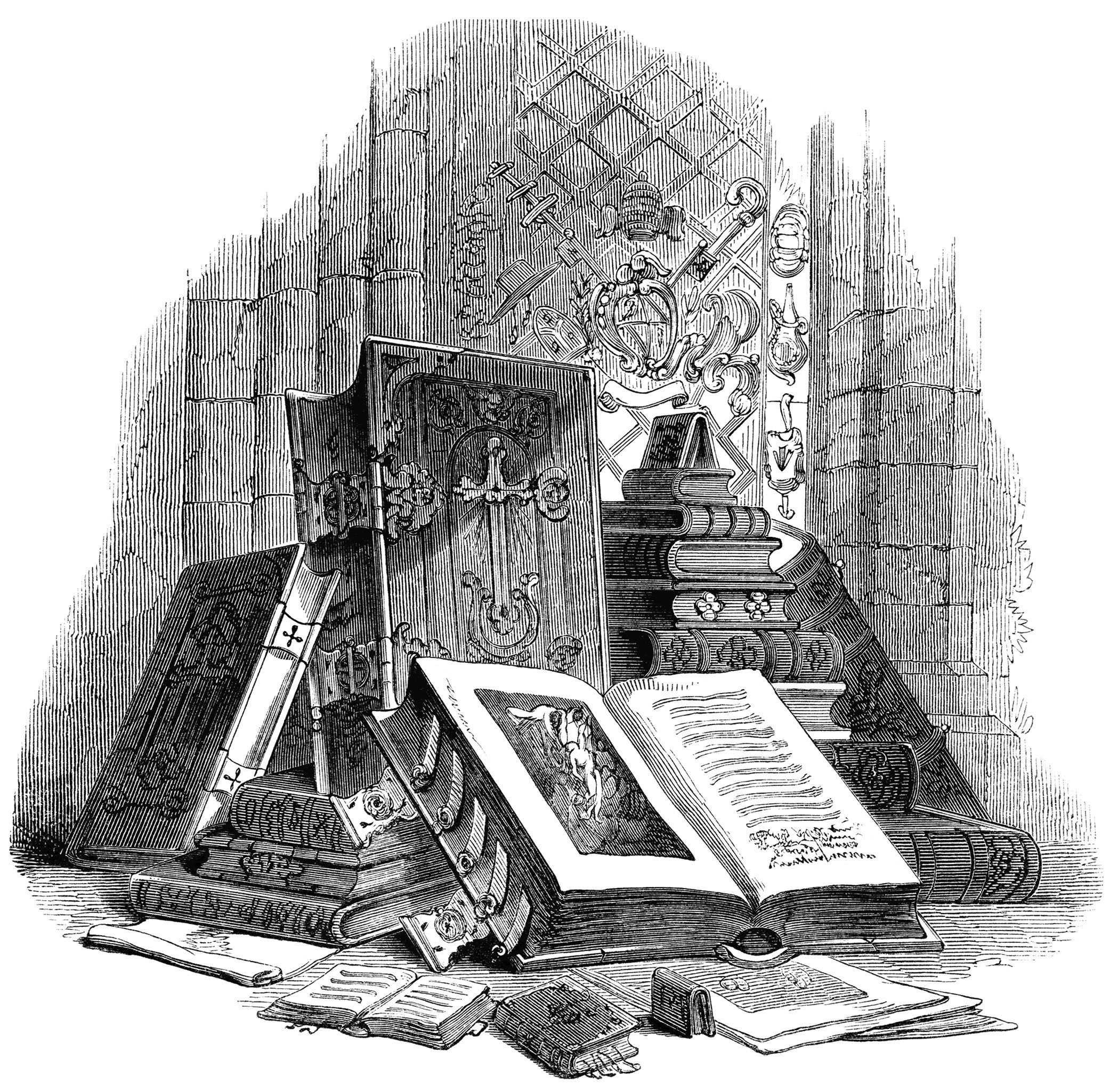Vintage Book Clip Art Black And White Clipart Stack Of Books Engraving Antique Case Image Display Illustration
