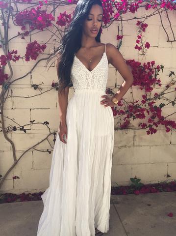 Sexy Prom Dress,white Chiffon Evening Dress,Lace Prom Gowns,Backless Fashion Dress,Long Party Dress