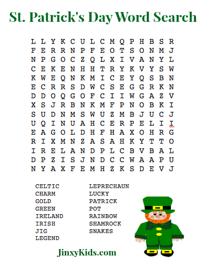photograph regarding St Patrick Day Puzzles Printable Free called 10 Enjoyment and Uncomplicated St. Patricks Working day Video games Housewives of