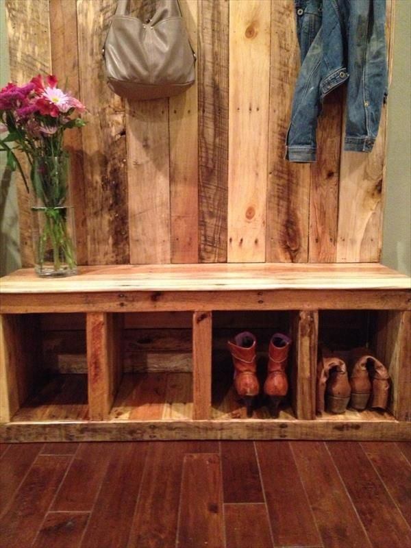 custom made to order reclaimed pallet wood entryway bench