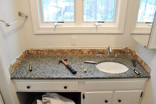 Grey Vanity White Subway Tile Bathroom Sink Backsplash Ideas