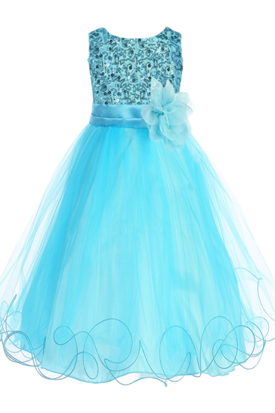 172f24ed84e6 Girls Aqua Blue Sequin Party Dress w. Lettuce Tulle Hem 2T-14 ...