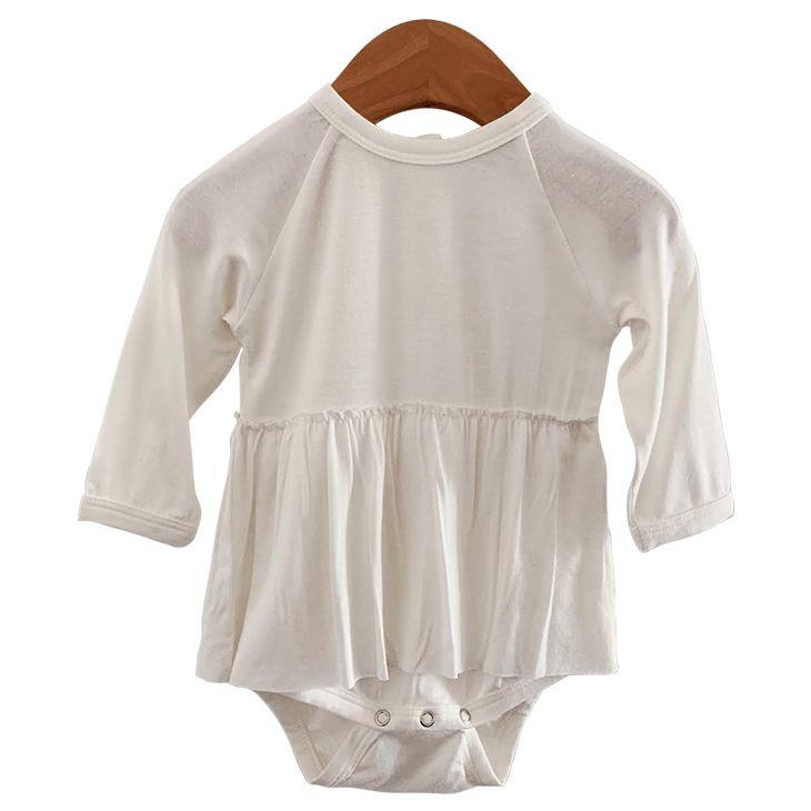 8e7e19048 Long Sleeve Skirted Bodysuit, Cloud White | Baby girl fashion ...