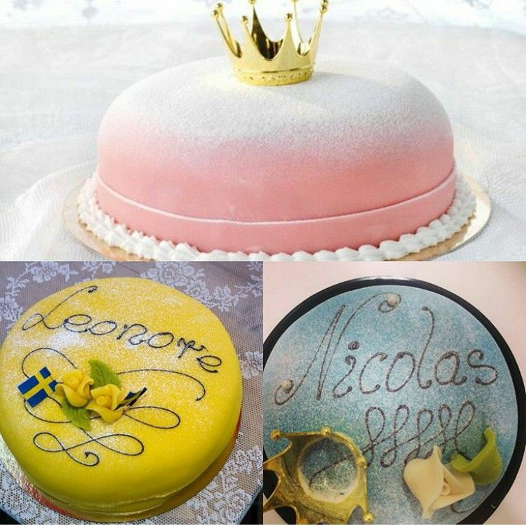 Official Christening Cakes for Princess Estelle of Sweden (top, pink), Princess Leonore (bottom, yellow) and Prince Nicolas (bottom, blue).