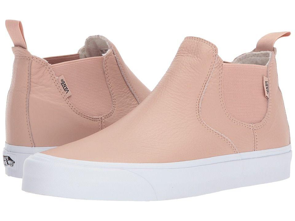 Vans Classic Slip-On Mid DX Skate Shoes (Leather) Mahogany Rose True White 9799c0294