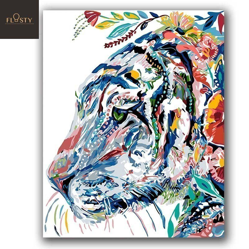 Paint By Numbers Colorful Tiger 2 Tiger Painting Watercolor