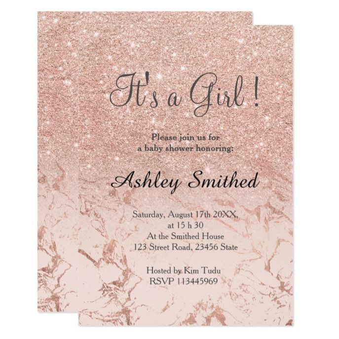 Rose Gold Marble Glitter Ombre Baby Shower Invitation