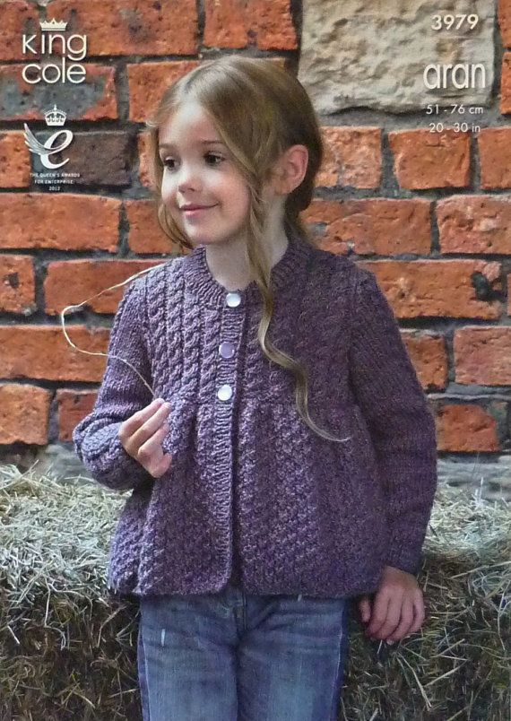 529c91631 Girls Knitting Pattern K3979 Childrens Long Sleeve Round Neck Smock Cardigan  with Cable Yoke Knitting Pattern Aran (Worsted) King Cole