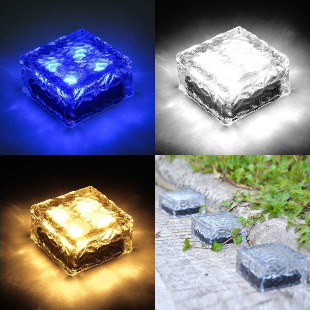 Solar Powered LED Rock Light Waterproof Path Yard Garden Ice Cube Brick Lamp