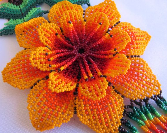 Beads Mexican Huichol 3 Beaded Orange And Red Flowers Por