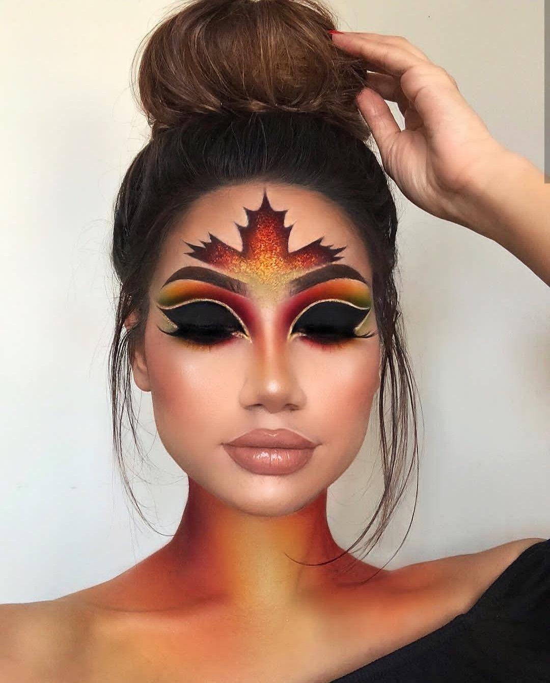 Makeup art. Leaf art Halloween makeup easy
