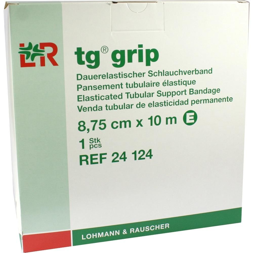 TG GRIP Stütz Schlauchverband E 8,75 cmx10 m:   Packungsinhalt: 1 St Verband PZN: 01309403 Hersteller: Lohmann & Rauscher GmbH & Co.KG…