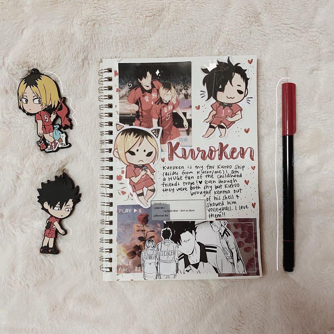 "amy 🏐🍊🤍 on Instagram: ""kuroken is my favorite kuroo ship after me/kuroo of course  • • • • #animebujo #animebulletjournal #animejournal #animespread #haikyuu…"""