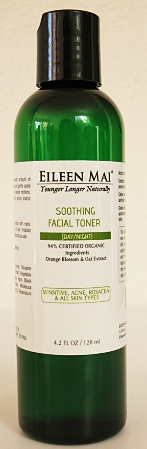 EILEEN MAI Soothing Facial Toner (Orange Blossom & Oat Extract). 94% CERTIFIED ORGANIC Ingredients. Good for all skin types, including Sensitive skin. Controlling skin's natural oil levels, helps prevent breakouts and will not dry out or strip delicate skin of its essential oils, gives skin a healthy glow. Calming and soothing for sensitive, irritated skin, acne, rosacea. Closing the pores, adjusts the pH of the skin and removes any remaining oil or dirt from the skin.