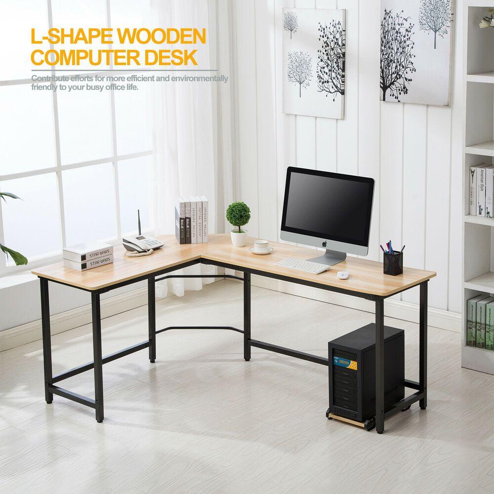 L-Shaped Corner Computer Desk PC Table Home Work Office Study workstation